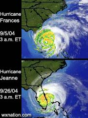Hurricane Frances and Jeanne took a frighteningly similar path, as our home page radar shows at 3 a.m. EDT on Sept. 5 and Sept. 26. Image links to full-sized live radar