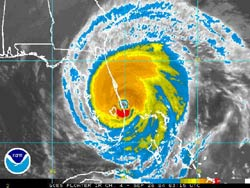 Courtesy NOAA. Infrared satellite image of Hurricane Jeanne at 11:15 p.m. EDT Saturday. Image links to latest large-sized image