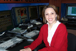 Krista Villarreal In The NBC 5 Weather Center, Dec. 2004. Image links to large version in new window