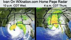 Ivan appears on WXnation.com home page radar at 10 p.m. CDT Wednesday and 4 a.m. CDT Thursday -- time of landfall. Image links to full-sized live radar