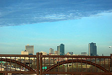 Fort Worth skyline from Beach Street over Interstate 30, taken Feb. 15, 2005. Click for larger image