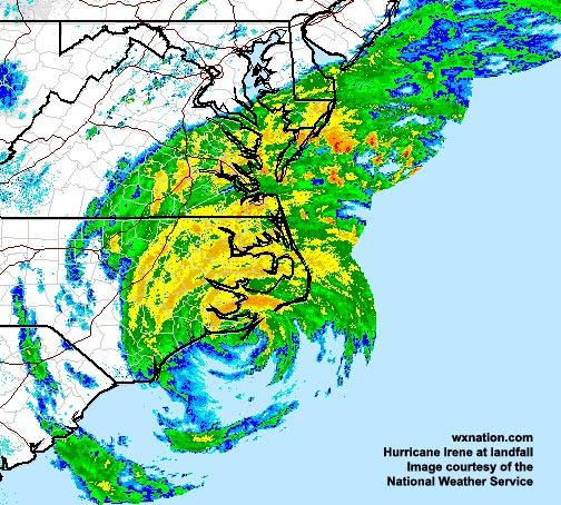 Hurricane Irene makes landfall in North Carolina early Saturday. Image courtesy of the National Weather Service.