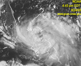 NOAA satellite image from 4:45 p.m. EDT Wednesday. Links to large, live version
