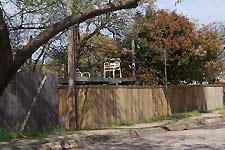 Someone's back yard 'perch' next to a residential street in Arlington, Texas, taken March 25, 2005. Click for larger image in new window