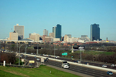 Taken March 9, 2005 in east Fort Worth, looking at Fort Worth skyline. Click for larger image