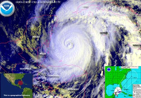 Courtesy: NOAA, Hurricane Wilma satellite image from 7:45 a.m. CDT Thursday