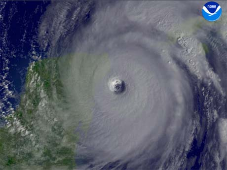 Courtesy: NOAA, Hurricane Wilma satellite image from 9:15 a.m. CDT Friday